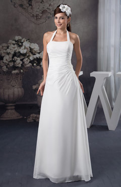 White Chiffon Bridesmaid Dress Long Destination Natural Elegant Spring Modern