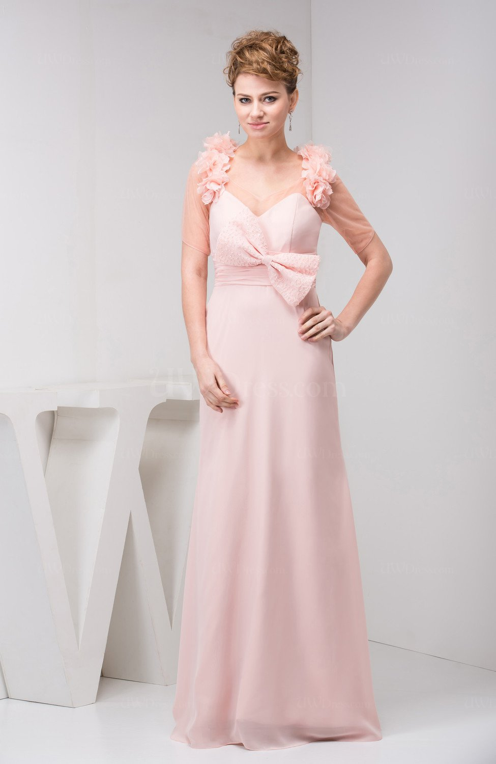Light Pink Chiffon Bridesmaid Dress with Sleeves Illusion