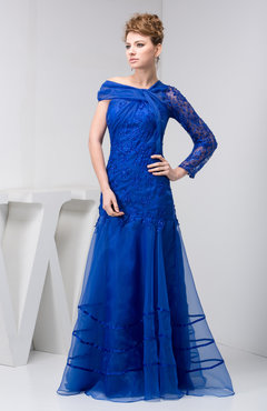 Electric Blue with Sleeves Bridesmaid Dress Lace Off the Shoulder Beaded Floor Length