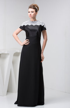 Black with Sleeves Bridesmaid Dress Lace Traditional Semi Formal Garden Western