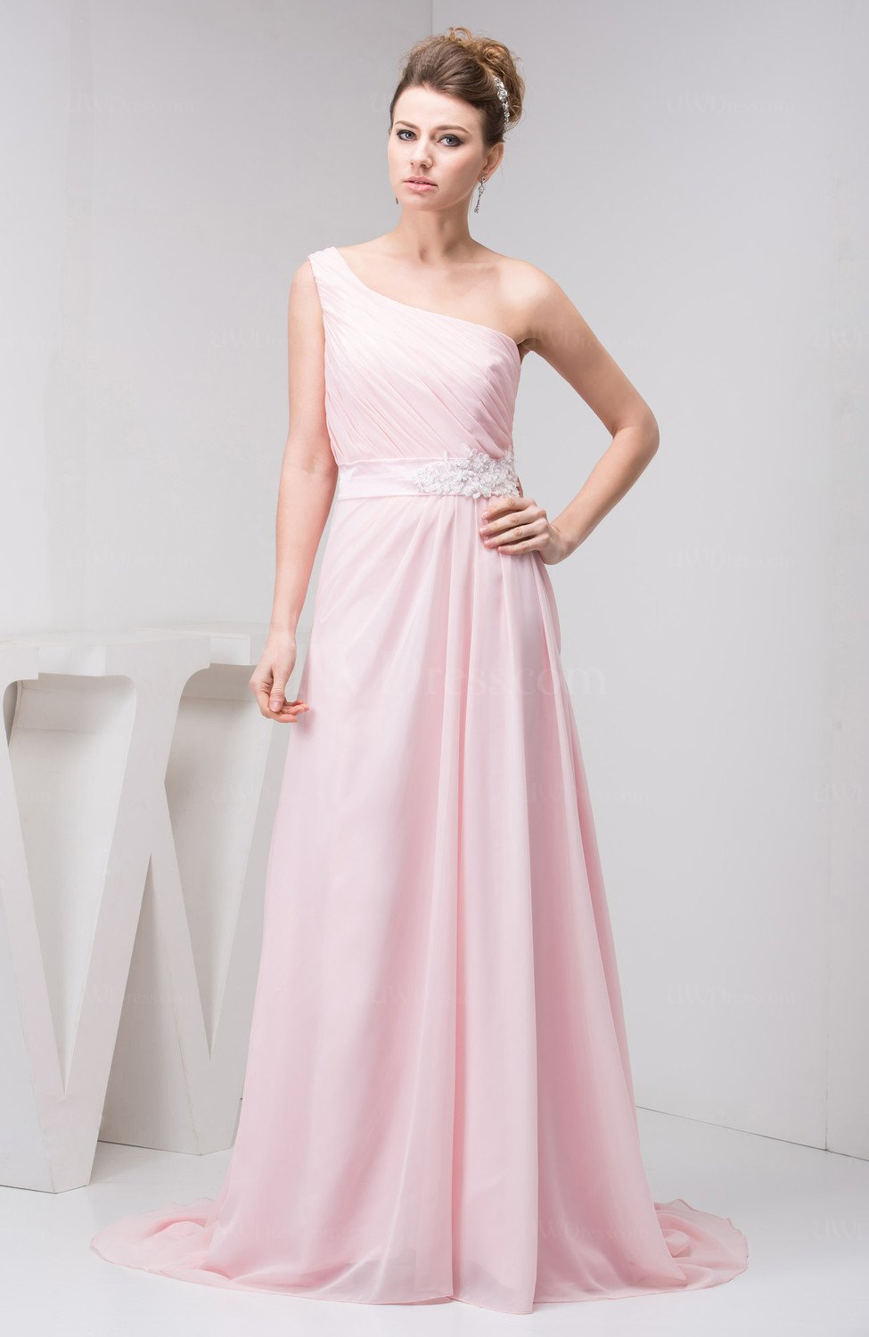 Baby Pink Affordable Evening Dress Elegant Inexpensive One