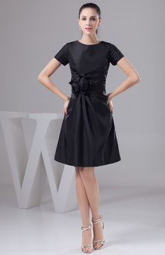 Black with Sleeves Bridesmaid Dress Unique Simple Flower Taffeta Fall