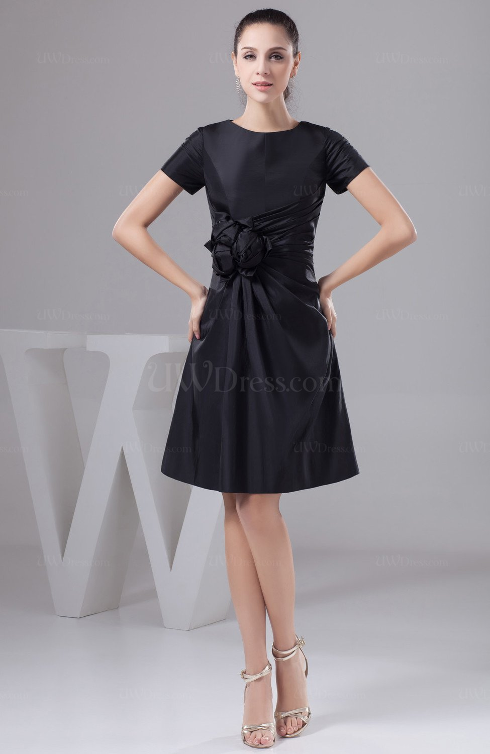 Black With Sleeves Bridesmaid Dress Unique Simple Flower