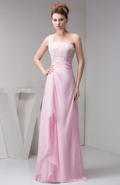 Baby Pink Chiffon Bridesmaid Dress Beach Sleeveless Modern Semi Formal Western