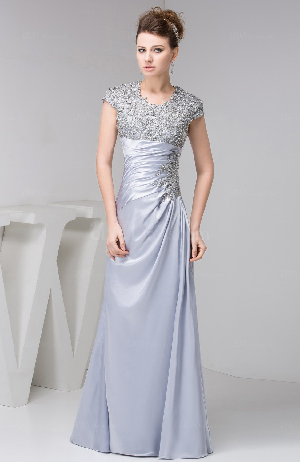 Lavender with Sleeves Evening Dress Long Summer Inexpensive Beaded ...
