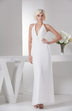 White Chiffon Bridesmaid Dress Long Backless Autumn Natural Destination Fall