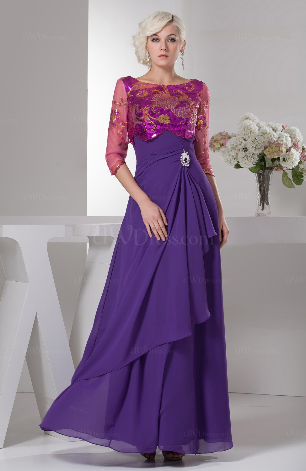 Dark Purple Unique Mother of the Bride Dress Inexpensive Traditional ...