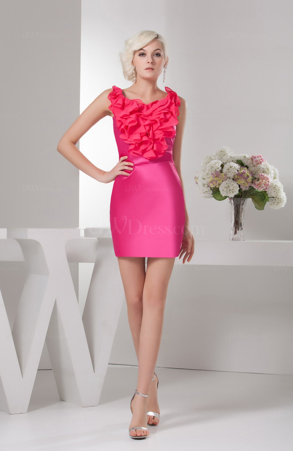 Hot Pink Short Party Dress Inexpensive Dream Natural Tight Mini ...