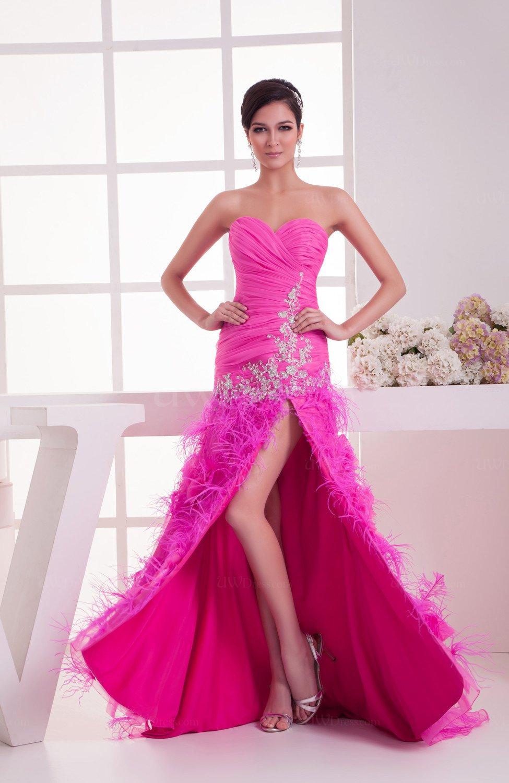 Long Prom Dress Sexy Hi Low Split Front Flower A line Classy Formal ...