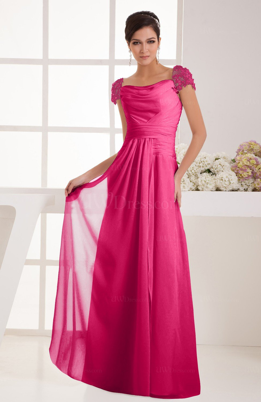 Fuschia with Sleeves Bridesmaid Dress Chiffon Trendy Floor Length ...