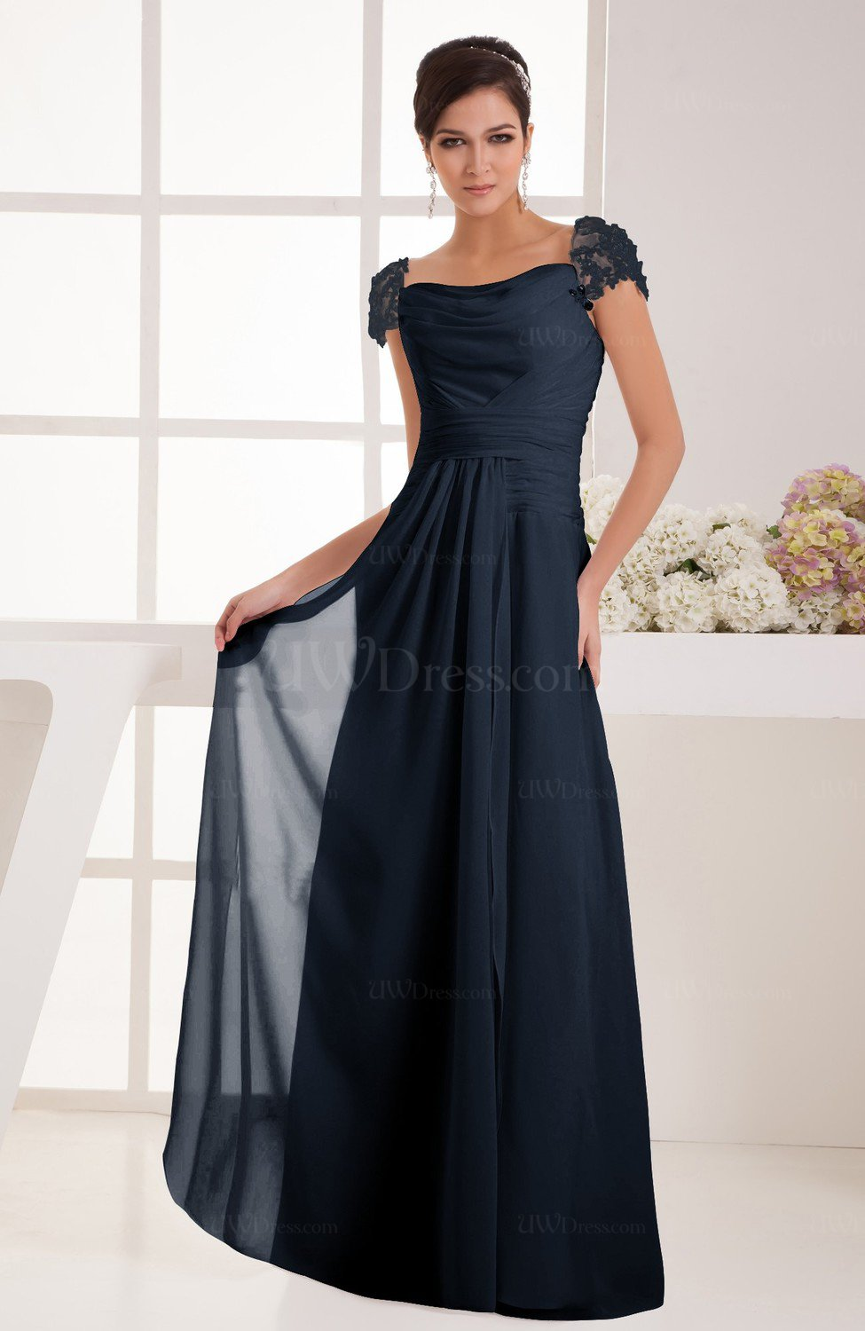 Bridesmaid dresses uwdress navy blue with sleeves bridesmaid dress chiffon trendy floor length amazing classic ombrellifo Choice Image