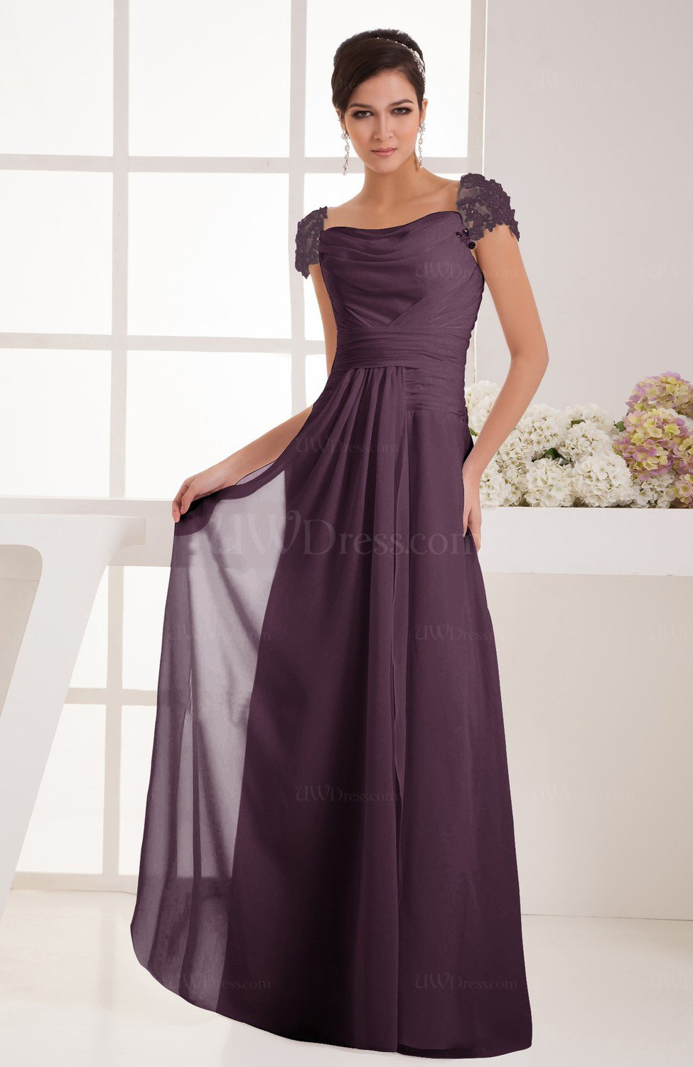 Plum with Sleeves Bridesmaid Dress Chiffon Trendy Floor Length ...