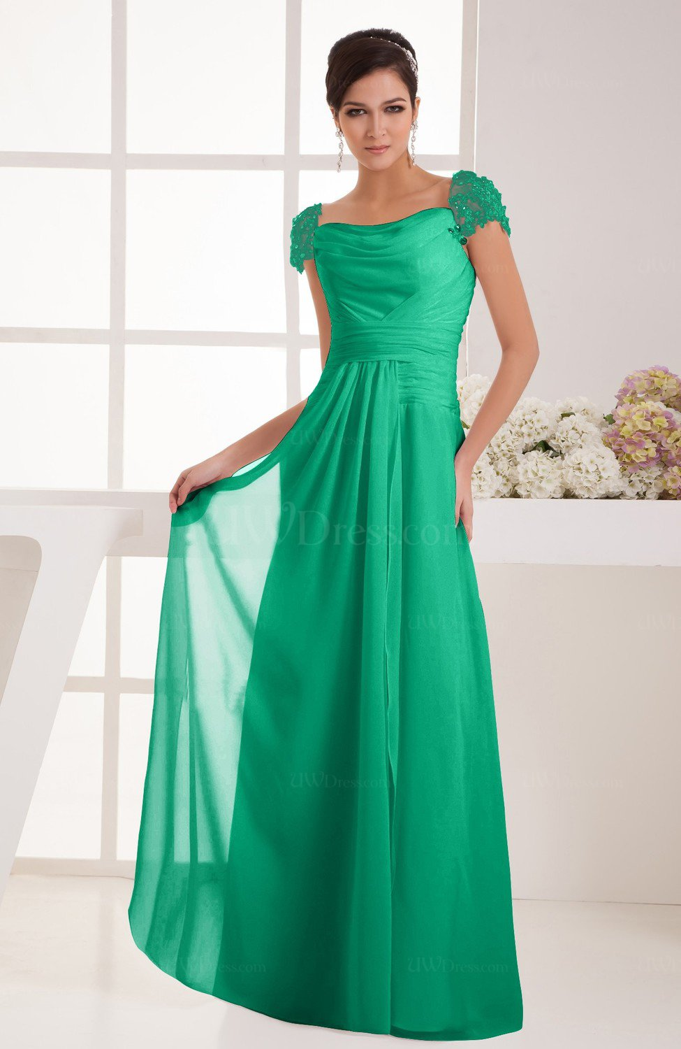 Sea Green with Sleeves Bridesmaid Dress Chiffon Trendy Floor Length ...