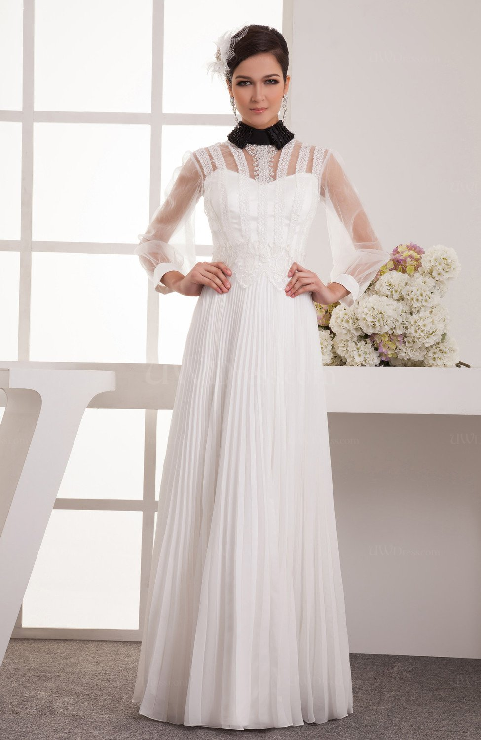 With sleeves prom dress lace long sleeve traditional for Long sleeve wedding dress topper