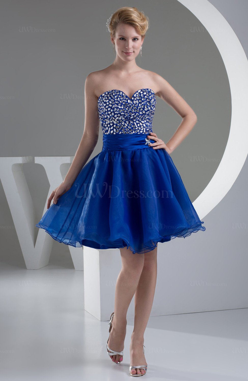electric blue country bridesmaid dress short semi formal sash