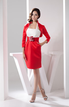 Red Long Sleeve Club Dress with Sleeves Amazing Fall Spring Full Figure Autumn