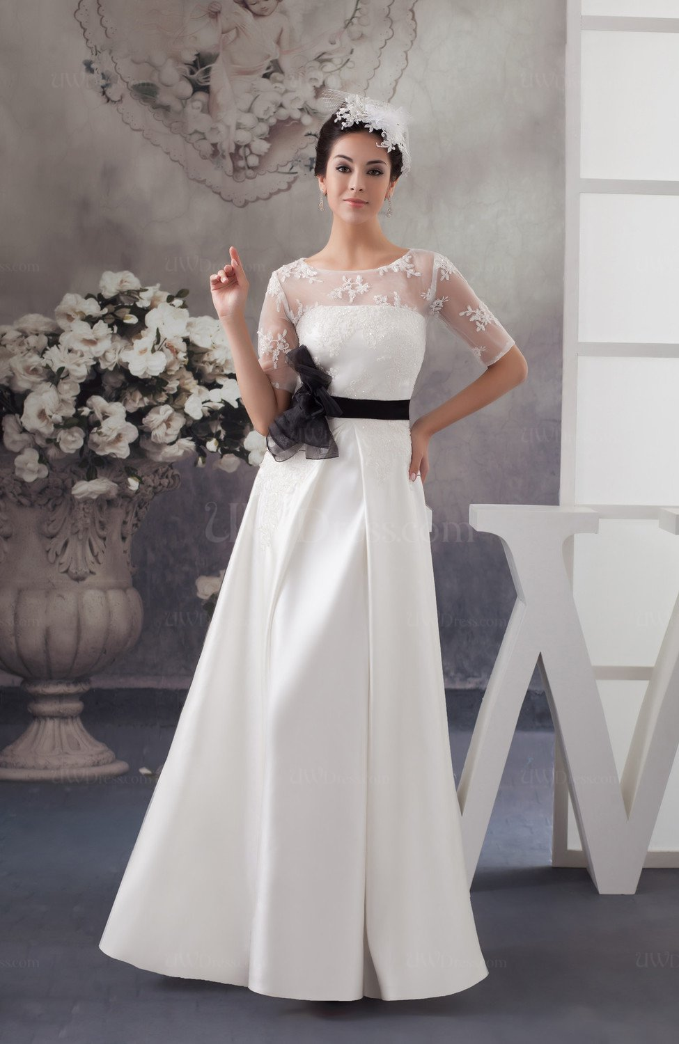Lace bridesmaid dress with sleeves sheer summer chic for Summer wedding dresses with sleeves