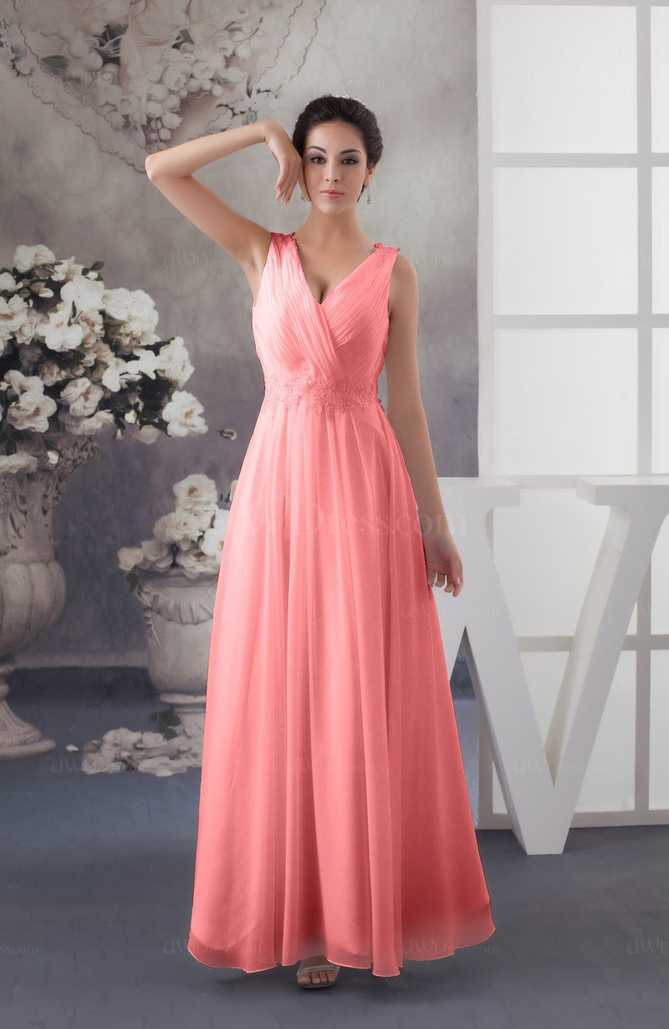Shell Pink Chiffon Bridesmaid Dress Affordable Sexy Western Allure ...