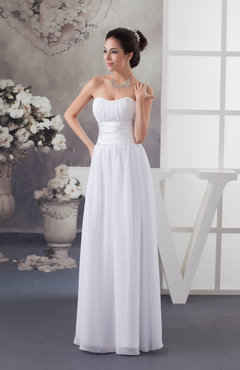 White Chiffon Bridesmaid Dress Country Fashion Spring Western Strapless Low Back