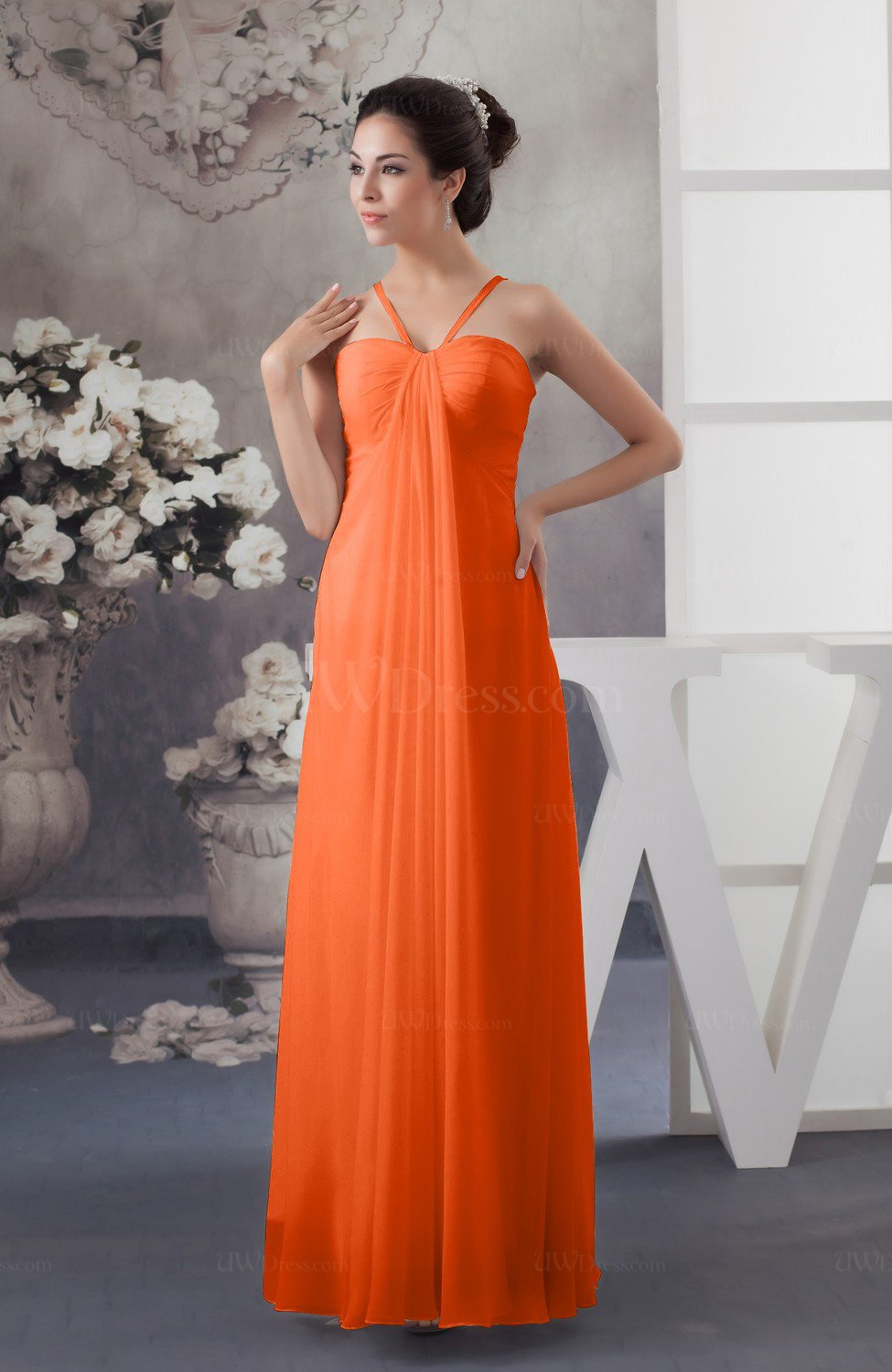 Chiffon Bridesmaid Dress Beach Elegant Casual Pee Simple Low Back A Line