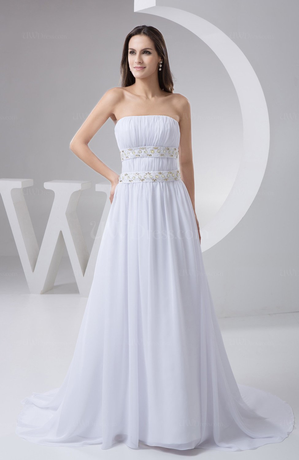 White inexpensive bridal gowns chiffon beaded cinderella for Affordable unique wedding dresses