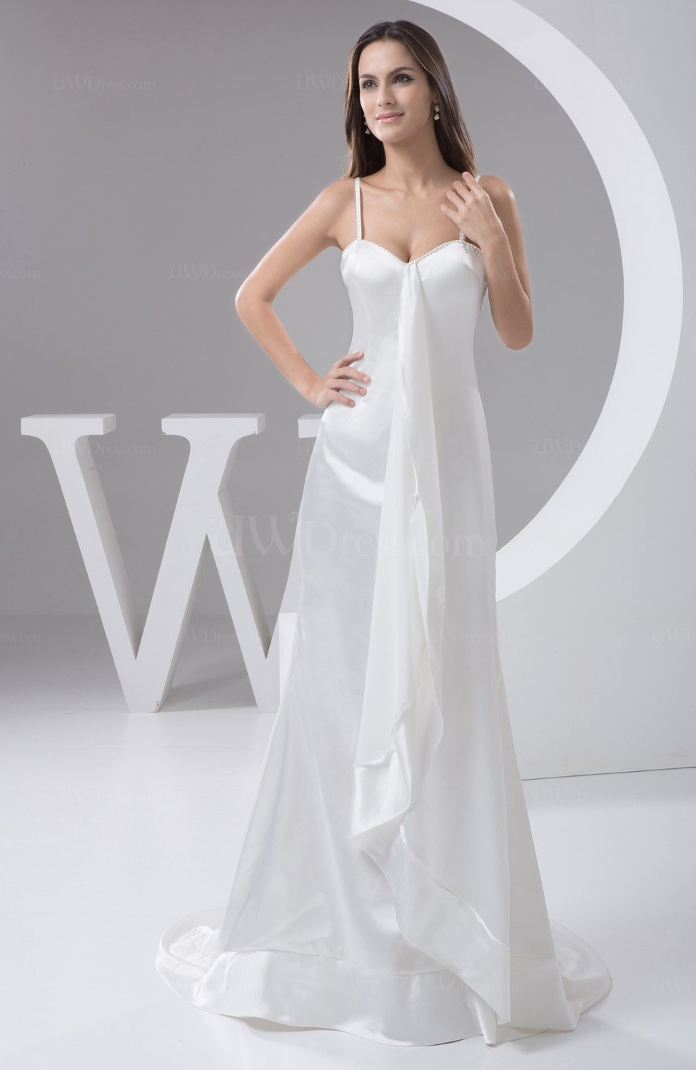 White Long Club Dress Simple Court Train Country Plain
