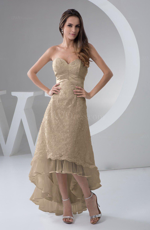 Almondine Brown Tea Length Bridesmaid Dress Inexpensive