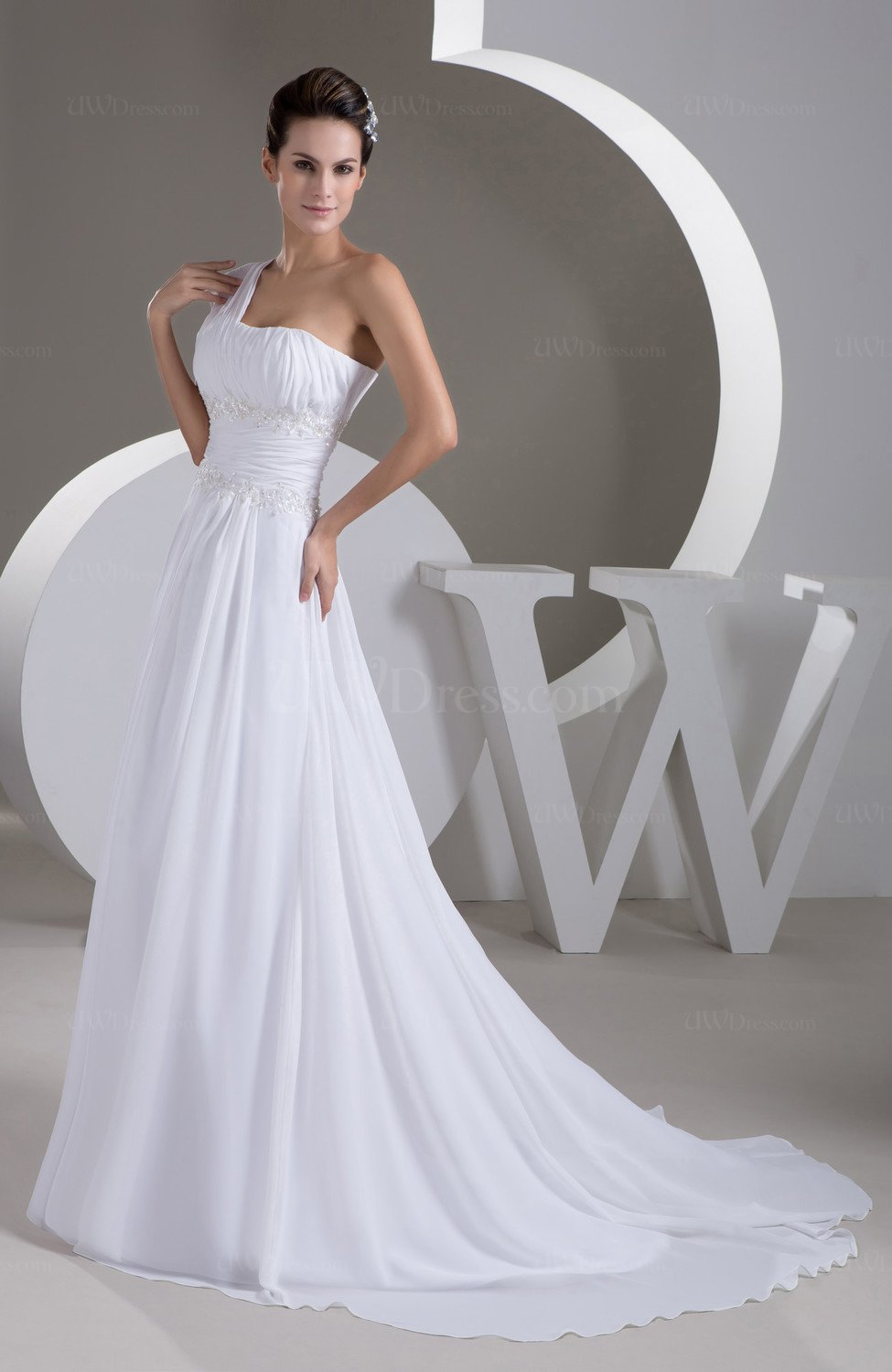 White Inexpensive Bridal Gowns Backless Informal Full Figure Chiffon Spring