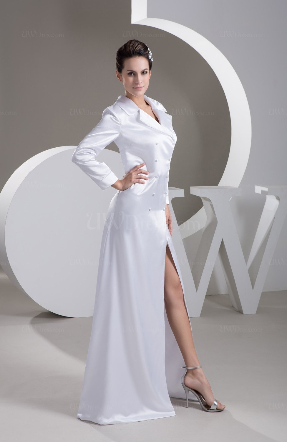 White Long Sleeve Club Dress With Sleeves Spring Sheath