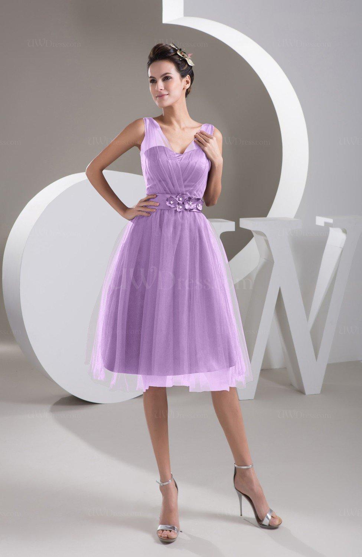 Begonia Inexpensive Bridesmaid Dress Short Sheer Knee Length Informal Elegant
