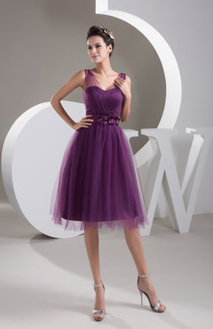 Inexpensive Bridesmaid Dress Short Sheer Knee Length Informal Elegant