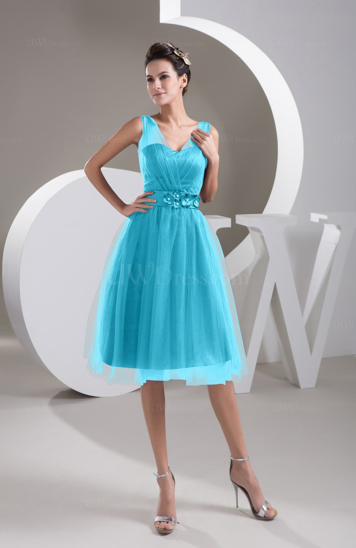 Turquoise Inexpensive Bridesmaid Dress Short Sheer Knee Length ...