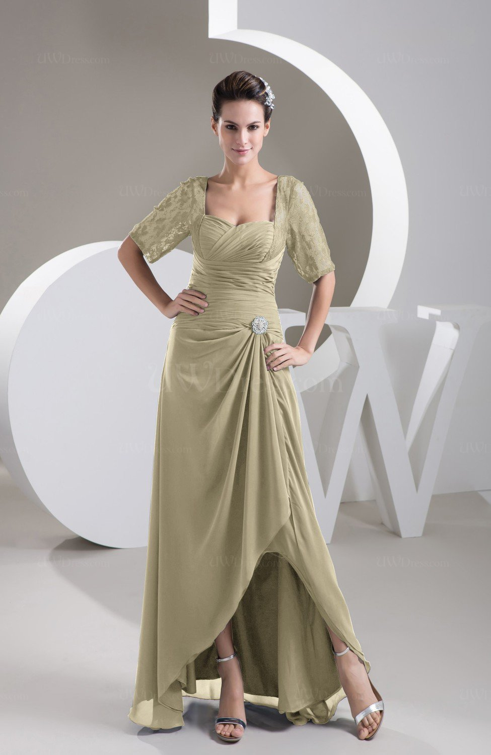 With Sleeves Bridesmaid Dress Chiffon Cly Le Trendy Plain Full Figure