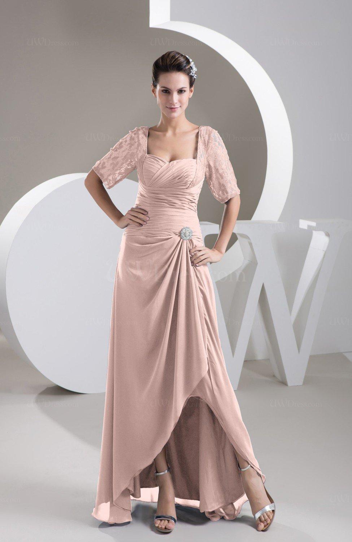 Dusty Rose With Sleeves Bridesmaid Dress Chiffon Classy