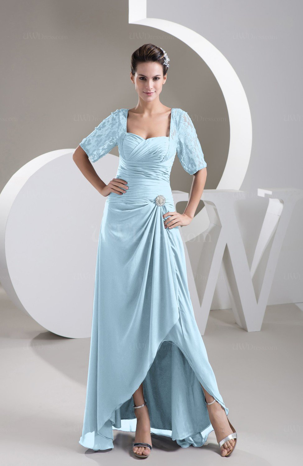 Ice Blue with Sleeves Bridesmaid Dress Chiffon Classy Apple Trendy ...