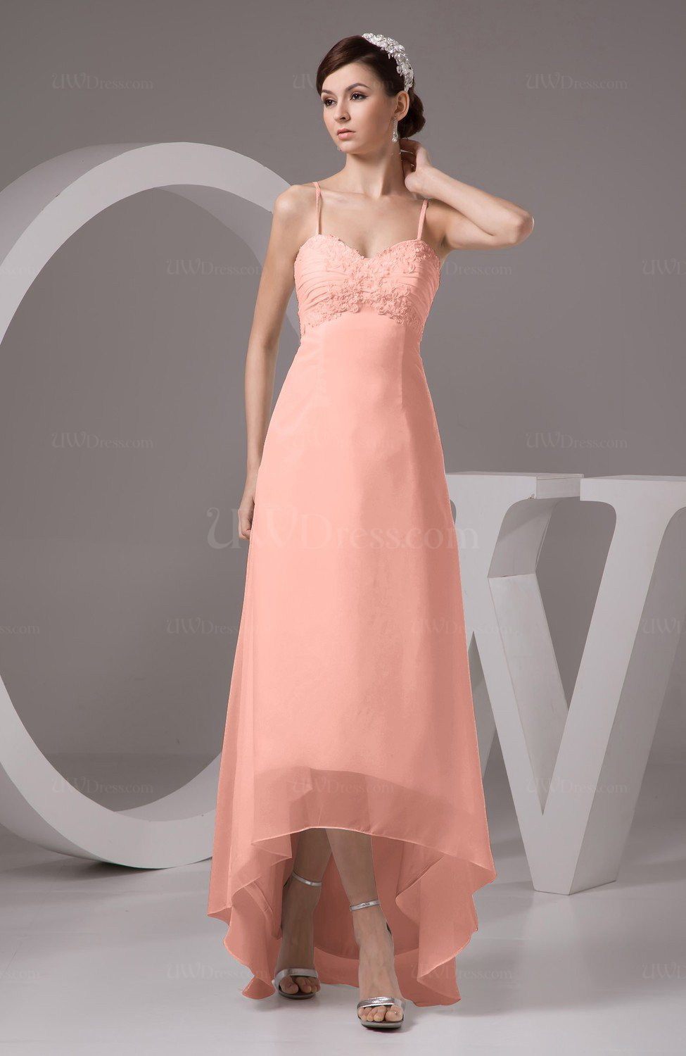 Peach Chiffon Bridesmaid Dress Tea Length Natural Chic Open Back ...