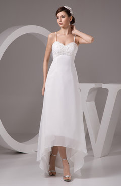 Chiffon Bridesmaid Dress Tea Length Natural Chic Open Back Backless Autumn