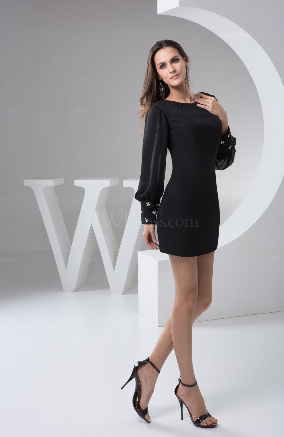 Long Sleeve Black Tight Homecoming Dresses Short