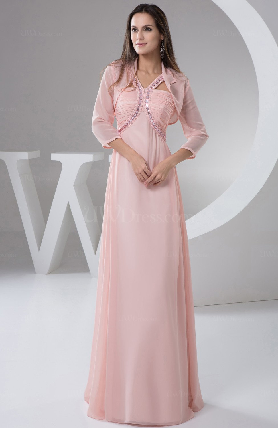 Light pink chiffon bridesmaid dress long plus size outdoor for Plus size pink wedding dresses