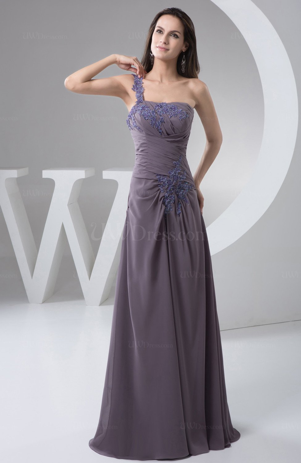 Chiffon bridesmaid dress one shoulder classy summer petite for Cocktail length wedding dresses