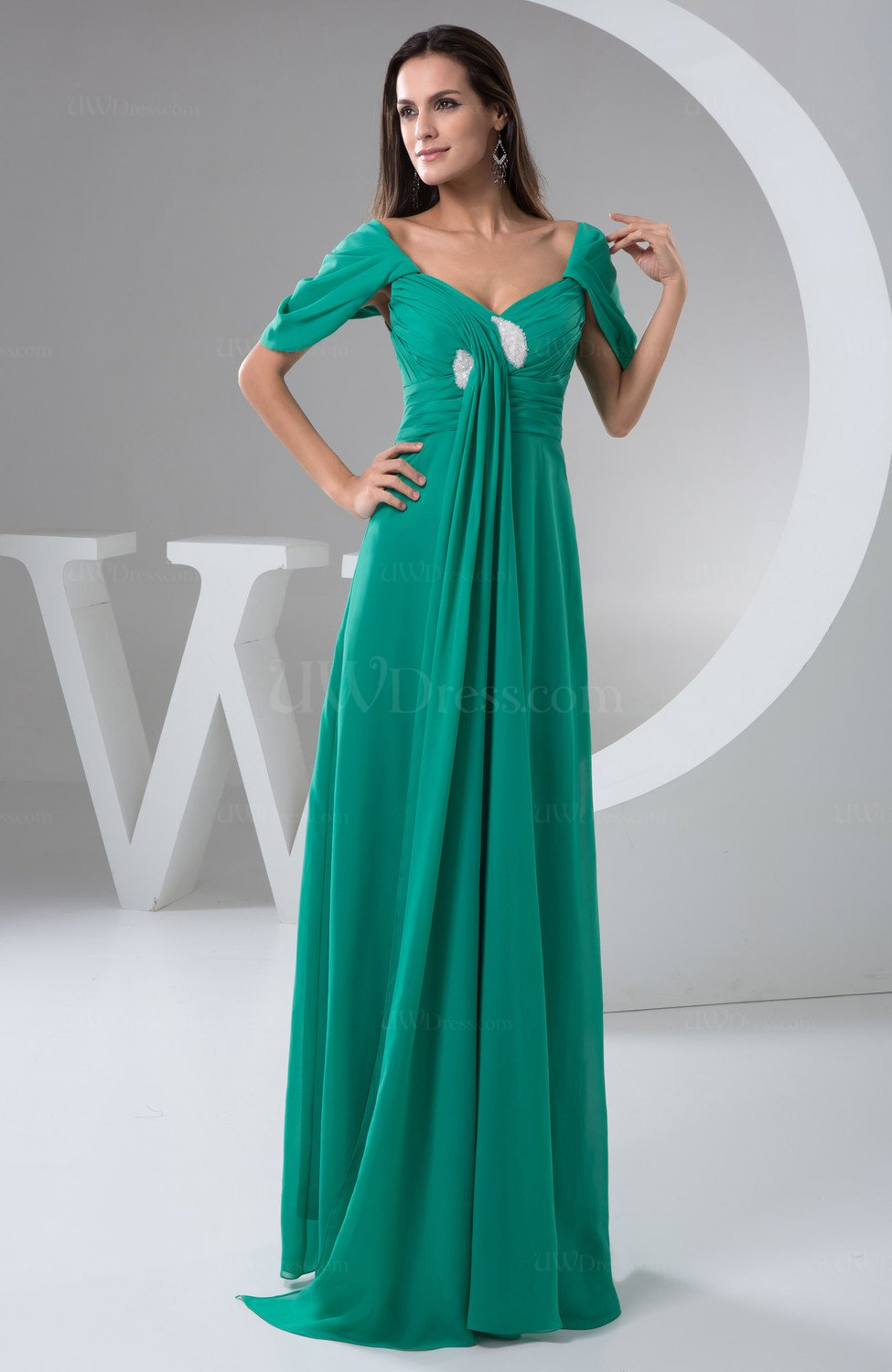 With sleeves bridesmaid dress chiffon open back summer for Wedding dress chiffon sleeves