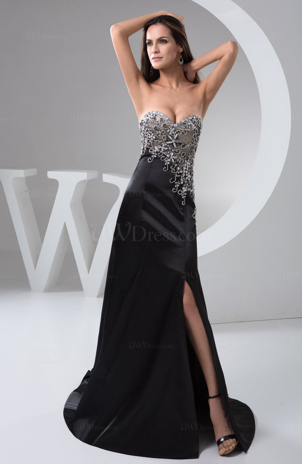 Black Unique Club Dress Long Luxury Allure Fashion Sleeveless Modern Natural - UWDress.com