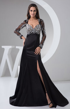 Black with Sleeves Evening Dress Formal Long Sleeve Luxury Sparkly Semi Formal
