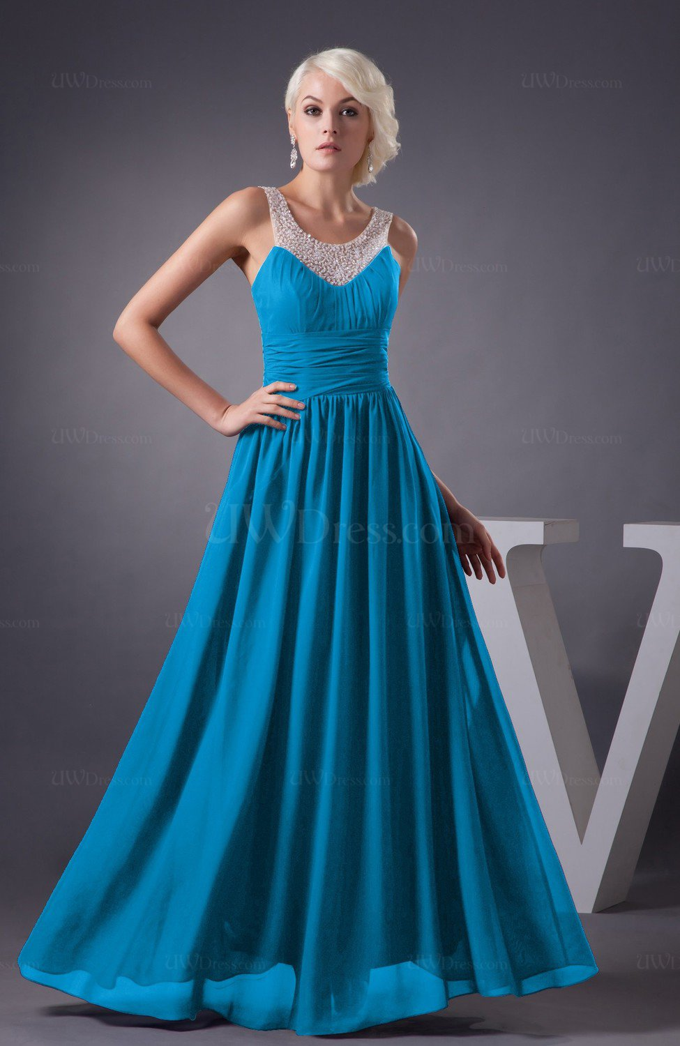 Cornflower Blue Chiffon Bridesmaid Dress Country Chic Summer Simple Plus Size Western
