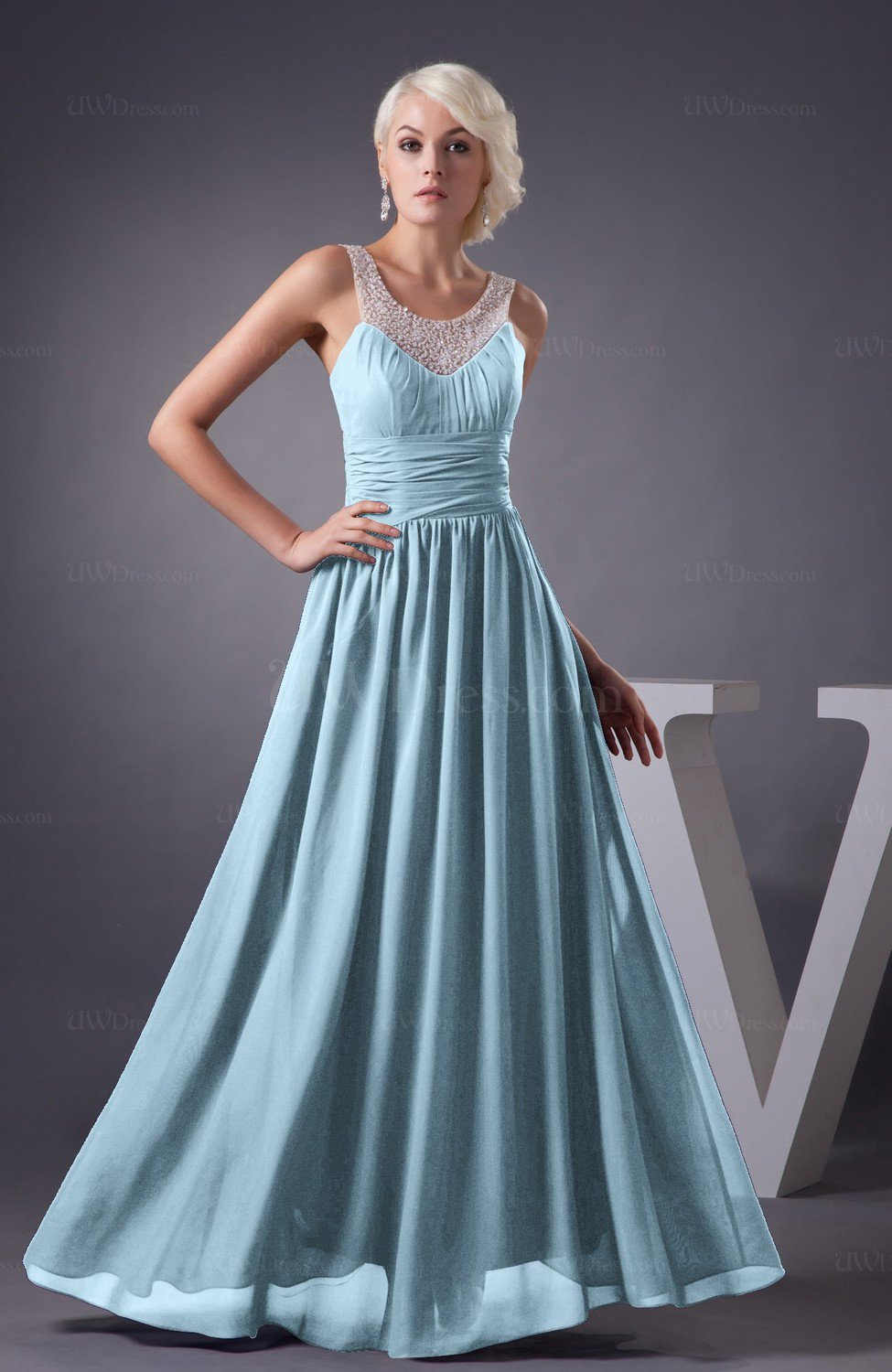 Ice Blue Chiffon Bridesmaid Dress Country Chic Summer Simple Plus ...