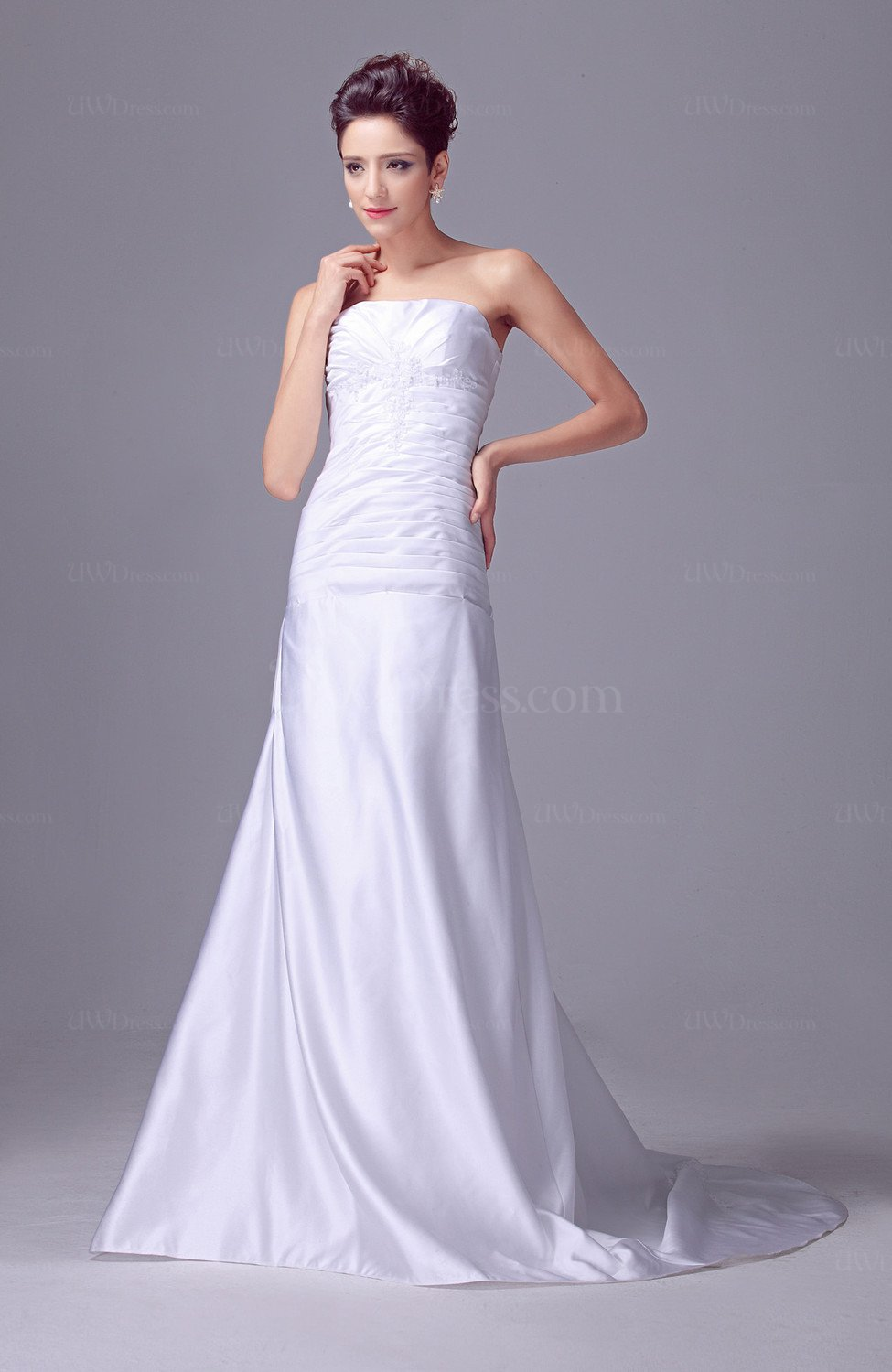 White allure bridal gowns open back classic sleeveless for Wedding dresses with interesting backs