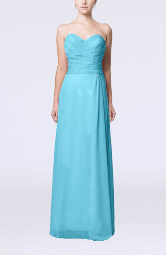 Turquoise elegant column sweetheart sleeveless draped for Turquoise wedding guest dress