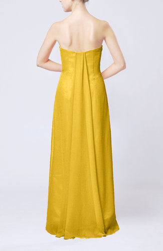 Yellow elegant column sweetheart sleeveless draped wedding for Yellow dresses for wedding guests