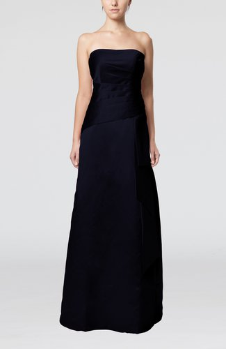 Navy blue elegant sheath sleeveless backless satin ruching for Backless wedding guest dresses