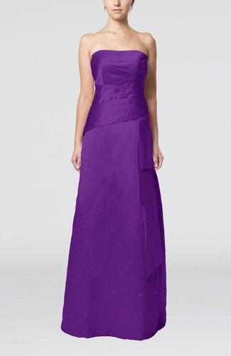 Purple Elegant Sheath Sleeveless Backless Satin Ruching Wedding Guest Dresses